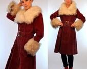 Vintage 70s Mongolian Curly Natural Lamb Fur + Oxblood Velvet Princess Trench Swing Coat. Avant Garde boho hippie belted Dress Jacket. Small