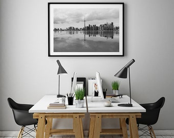 Toronto Skyline Black And White Photography Art Personalized Decor Office