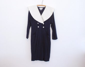 Navy Blue Midi Dress with Oversized White Collar - 1980s