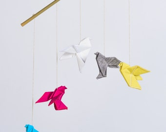 Origami mobile, origami dove birds, children, modern mobile nursery decor, colorful origami art, pink yellow blue grey white, origami fabric