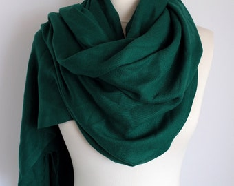 Green Color Pashmina Scarf, Fringe Scarf, Circle Scarf, Scarves, Shawls, Extra Long Oversize Winter Infinity Scarf