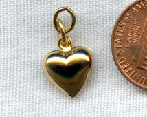 "3 Vintage Gold Plated 10mm. Puffed Heart .75"" Dangle Bead Charms   R505"