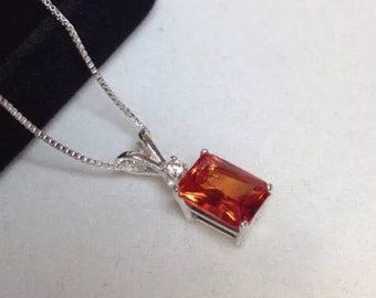 2ct Emerald Cut Orange Padparadscha Sapphire Sterling Silver or 14kt Gold Solitaire Pendant Necklace Fine Jewelry Gifts Orange Sapphire