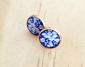 Rose Gold Floral Blue Resin Earrings