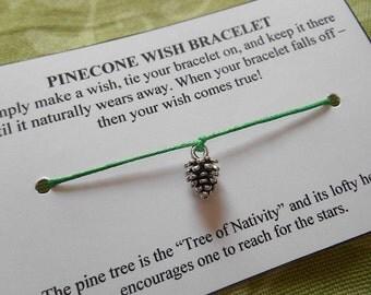 Pine Cone Wish Bracelet - Wish Bracelet - Pine Cone Bracelet - Party Favor - Wishing Bracelet - Pine Cone Charm Bracelet - Gift - Christmas