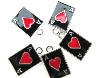 5 pcs. enamel Double-Sided ACE OF HEARTS Card Charm Pendant