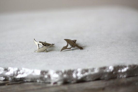 1970s sterling silver bird cuff links // vintage cuff links // vintage suit pin