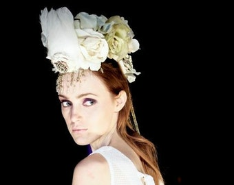 Floral headpiece, bridal headpiece, cream headpiece, mohawk