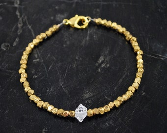 Herkimer Diamond and Brass Bracelet - Herkimer Diamond Bracelet - Drilled Herkimer Diamond Bracelet - Genuine Herkimer Diamond NY