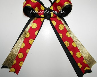 Red Softball Bow, Sparkly Softball Bow, Red Gold Black Softball Team Bow, Sparkly Red Softball Ribbon Bow, Red Gold Baseball Team Hair Bows