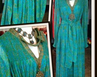 Vintage Treacy Lowe Silk Chiffon Turquoise Green Print Caftan Maxi Long Dress FREE SHIPPING