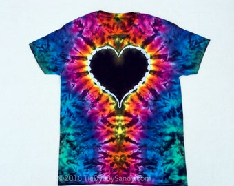 Rainbow and Black Heart Tie Dye Shirt