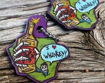 "Wasteland Oddities Custom Hand Painted Leather ""I Heart Whiskey"" Tags!"