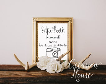 Photo booth sign art print, printable wedding photobooth sign, photo booth signage, photobooth prop, selfie booth, Instant Download, PB04