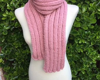 Hand Knitted Scarf - Luxurious Long Ribbed Scarf in a fantastic Dusky Pink