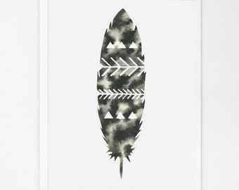 Modern Feather Print Geometric Watercolor Feathers Print Minimalist Wall Decor Minimal Print Black and White Art Print Monochrome Artwork