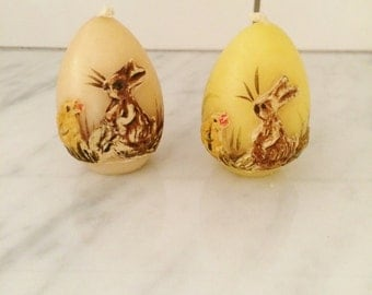 German Egg Candles, Painted Egg Candles, West Germany Eggs, Yellow Easter Decor Rabbit Chick