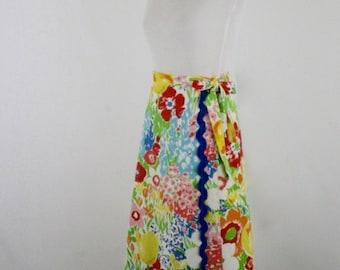 1970s Bold Floral Cotton Wrap Skirt Jumbo Rick Rack Trim by Mr. Hank