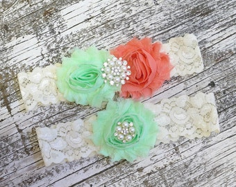Your Color ,Mint and Coral Wedding Garter Set , Wedding Garter , Bridal Garter, Garters for Wedding , Garter ,Lace Garter