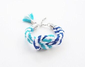 Tie the knot bracelet - knot rope bracelet - blue bracelet - rope jewelry - nautical rope - nautical bracelet - tassel bracelet - rope knot