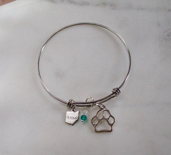 Ohio University Charm bracelet. Ohio State Charms. Ohio Bracelet. Ohio Bobcats. Ohio state. OU charm. Stainless Steel Bracelet. Item # 120