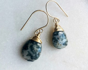 Jasper gold filled earrings with gold filled wire