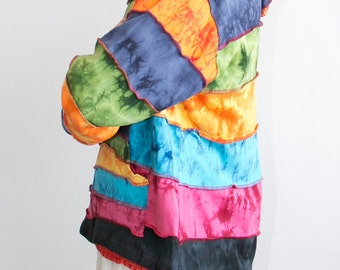 Men Rainbow Patchwork Jacket - Pixie - Hippie - Men - Women - Pointed Hood - Polar Lining - Warm - Fleece Lined- Rainbow Clothing