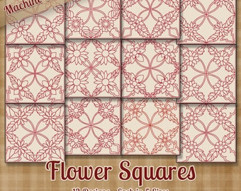Flower Squares Redwork Machine Embroidery Patterns 12 Designs 5 Sizes Each INSTANT DOWNLOAD - art art70 pes jef exp sew xxx vip hus dst