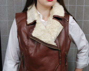 Faux Leather Shearling Vest, Waistcoat, Steampunk Style