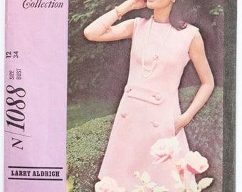 Vintage 1950s Womens Button Front Shift Dress Sewing Pattern Size 12 Bust 34 McCalls 1088 Designer Collection- Larry Aldrich