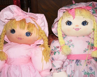 """2 Large Vintage Handmade Dolls 47"""" Tall w/ Hearts Print and Floral Pink Dresses"""
