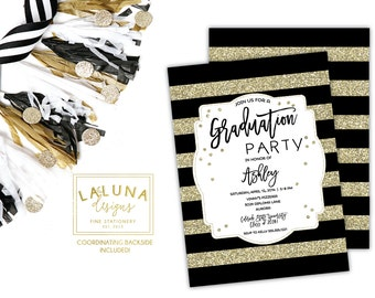 Graduation Party Invitations, Graduation Invitation, Graduation Invites, Graduation Announcement, Gold and Black
