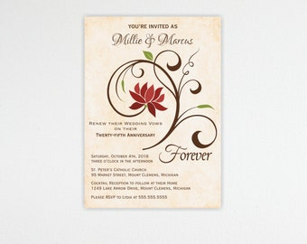 Vow Renewal Invitation, 10th, 20th, 25th, 30th, 50th, anniversary, wedding vow renewal invite, digital, printable, invite