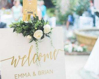 Welcome Wedding Sign Gold + White - Wood - Gold Foil