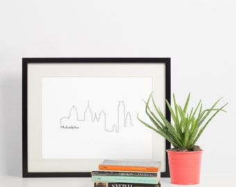 Philadelphia Skyline Art Print - Black and White - Art Print - 8x10