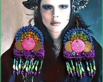 KLARISSA earrings No.2, hand crafted dangle Gipsy earrings, beaded trim felt, Moroccan coins, Purple Green Turquoise Blue colors, Pair No.2