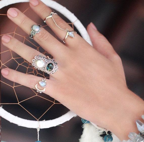 Boho Rings in Sterling Silver, Bohemian Rings, Gemstone Ring, Statement Ring, Personalised, Multi Gemstone Ring, Labradorite Ring, Magnesite