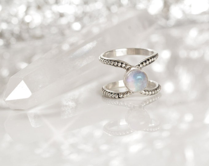 Rainbow Moonstone Ring, Boho Ring, Double Strap Ring, Gypsy Ring, Statement Rings, Solid 925 Sterling Silver Rings, Don Biu