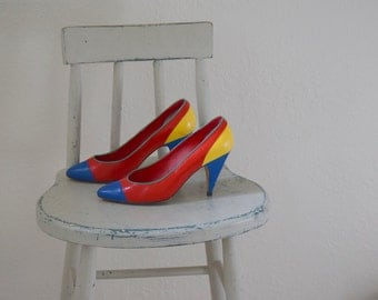 Color Block 'Jasmine' Pumps / Red, Blue, Green and Yellow Shoes / Women's 8