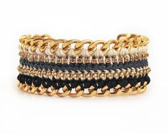 Statement rhinestone bracelet, chunky chain bracelet with beads, boho crochet bracelet in cream, black and gold
