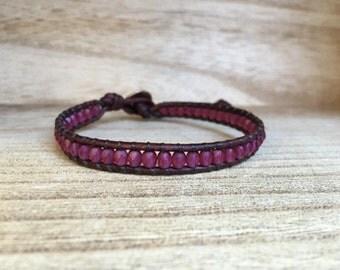 Magenta Single Wrap Bracelet