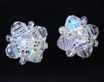 Laguna Aurora Borealis Austrian Crystal Clip On -  Cluster Clip On Earrings - Mid Century Clip on Earrings - Laguna Clip On - Laguna Earring