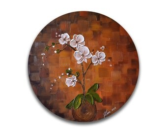 Original orchid painting, Abstract flower painting, canvas wall art, Impasto Palette Knife painting