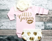 Baby Girl Outfit Baby Gift Hello Gorgeous Baby Shirt Kids Clothes Glitter Shirt Baby Girl Clothes Cute Girls Clothes Baby Outfit #28
