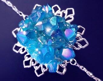 Blue crystal bracelet, filigree bracelet, crystal cluster bracelet, blue angel aura quartz bracelet, quartz bracelet, snowflake, OOAK
