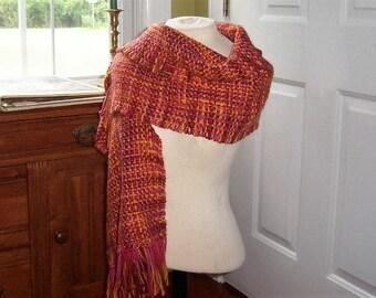 Hand-woven Warm Sunset Shawl