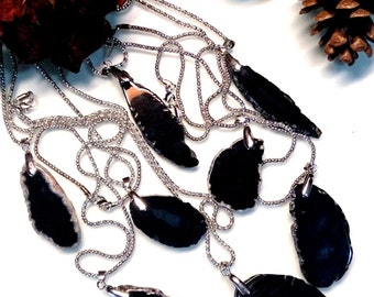Mothers day from son, from doughter, gemstone necklace, black agate necklace, black necklace, agate slice necklace,