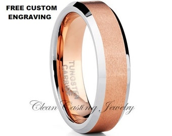 Tungsten Wedding Band,Rose Gold Tungsten,Tungsten Wedding Ring,Anniversary Band,Comfort Fit,Beveled Edges,6mm,Engagement Ring,Custom
