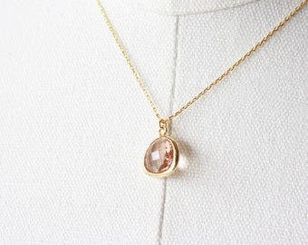 Peach Crystal Necklace