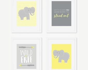 Elephant Nursery Prints, Tribal Wall Art, Yellow Gray Nursery, Gender Neutral Nursery, Wild & Free Quote, Nursery Decor, INSTANT DOWNLOAD